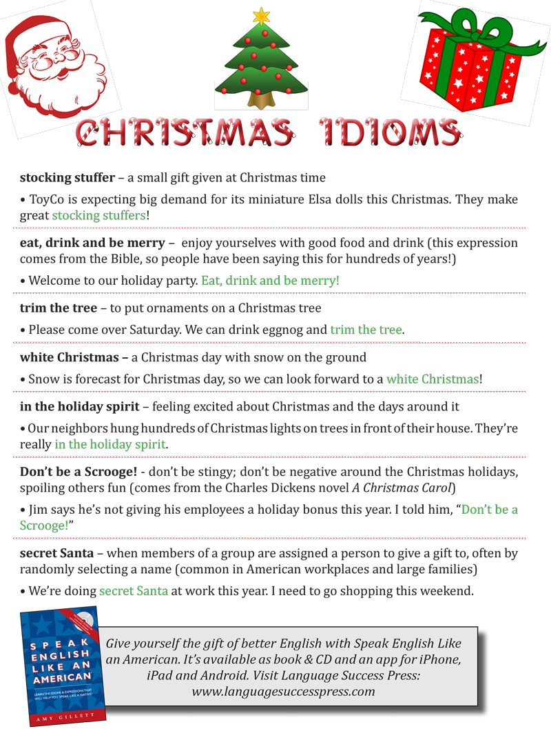 Christmas Expressions.Idioms Expressions For Christmas Language Success Press